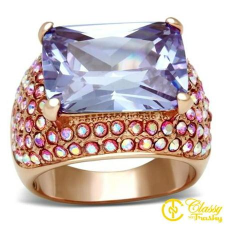 Classy Not Trashy® Size 9 Princess Cut Light Amethyst Cubic Zirconia Women
