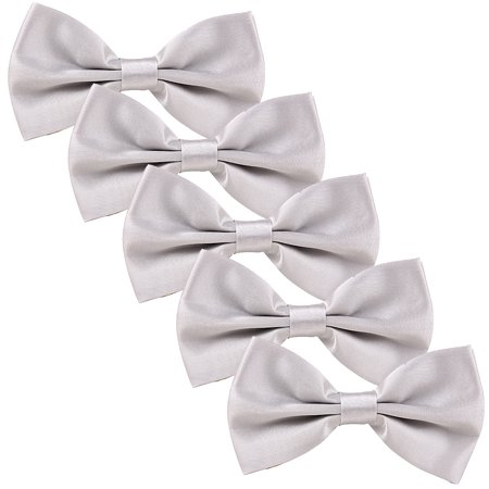HDE Men's Wedding Party 5-Pack of Solid Color Formal Adjustable Pre-Tied Bow Tie (Silver) - Rainbow Bow Tie