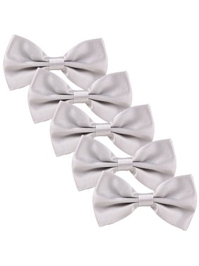 HDE Men's Wedding Party 5-Pack of Solid Color Formal Adjustable Pre-Tied Bow Tie (Silver)