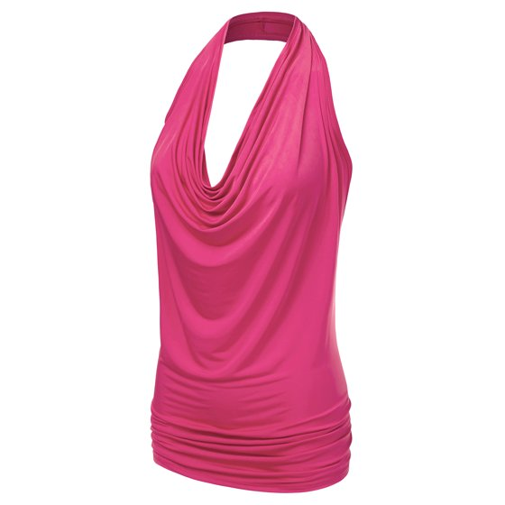 74daabf6ef508 Doublju - Doublju Women s Lightweight Casual Halter Neck Draped ...