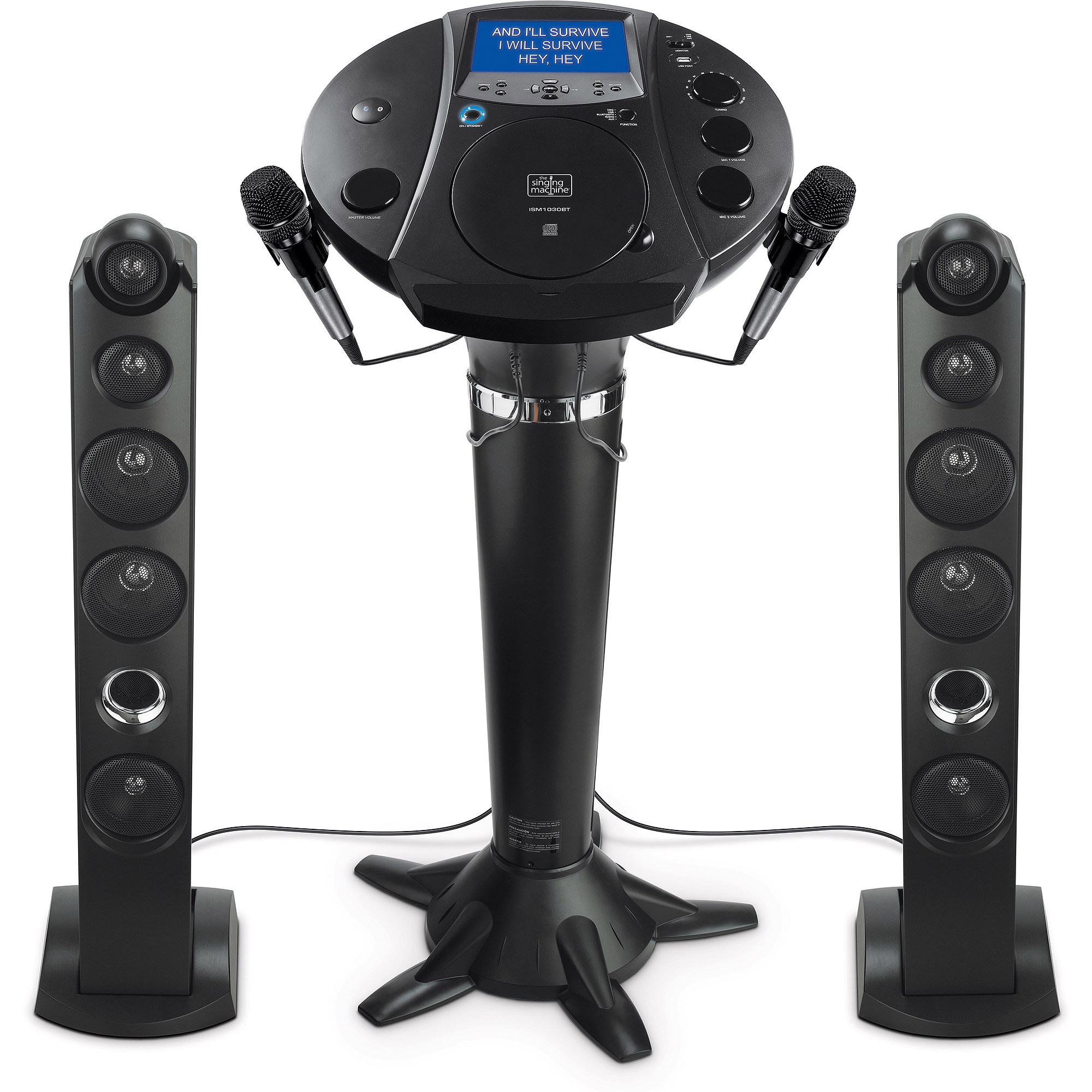 "Singing Machine Bluetooth Pedestal Karaoke System with Tablet Cradle and 7"" LCD Color Monitor"
