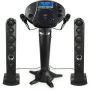"Singing Machine ISM1030BT Bluetooth Pedestal Karaoke System with Resting Tablet Cradle and 7""LCD Color Monitor and Two Microphones, Black"