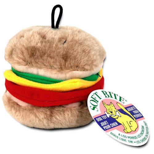 Aspen Pet Soft Bite Hamburger Dog Toy, Medium