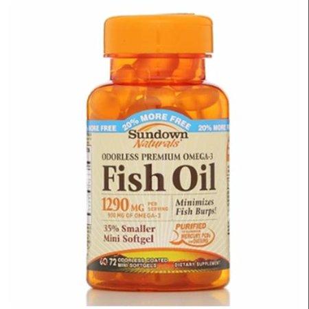 Sundown naturals odorless premium omega 3 fish oil 1290 mg for Omega 3 fish oil walmart