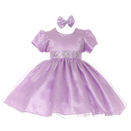Baby Girls Lilac Short Sleeve Sparkle Floral Stone Flower Girl Dress
