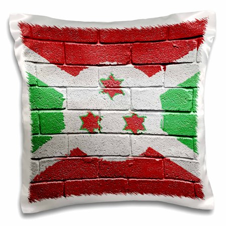 3dRose National flag of Burundi painted onto a brick wall Burundian, Pillow Case, 16 by 16-inch