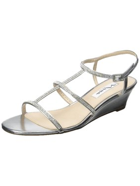 Nina Womens Floria Open Toe Ankle Strap Wedge Pumps, Silver, Size 5.0