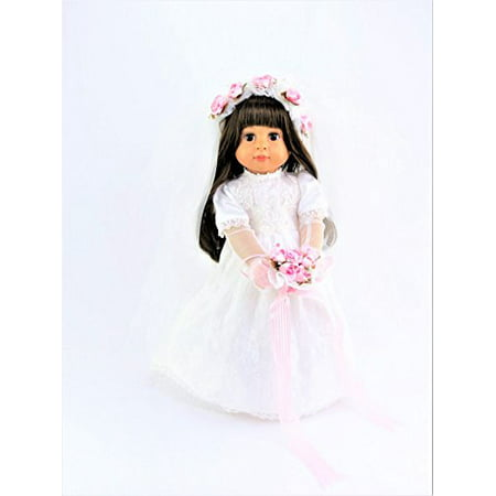 Lace and Floral Bride with Veil and Bouquet | 18 Inch Doll Clothes