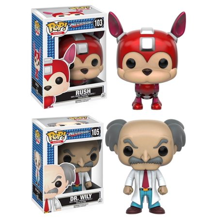 Mega Man Funko POP Vinyl Figure Set: Rush and Dr. Wily - Mega Man Helmet