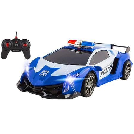 Chair Kids Race Cars (Police RC Car For Kids Super Exotic Large Remote Control Easy To Operate Toy Sports Car with Working Headlights And Sirens Perfect Cop Race Vehicle)