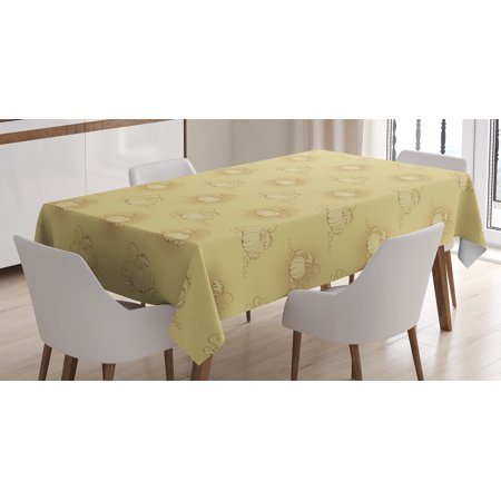 Beige Decor Tablecloth, Set of Pumpkins on Earth Background Halloween Harvest Seasonal Squash Illustration, Rectangular Table Cover for Dining Room Kitchen, 60 X 84 Inches, Biege, by Ambesonne - Squash Halloween Carving