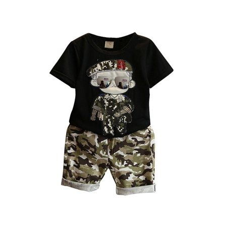 Kids Baby Boys Summer Short Sleeve Tops + Short Pants Clothes Outfits Sets 2-7T - Summer Short Outfits
