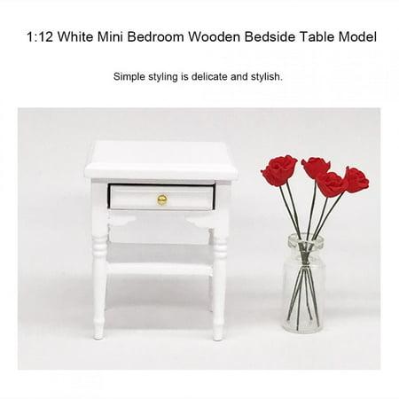 EBTOOLS Wood Bedside Table,1:12 White Mini Bedroom Furnishing Articles Wooden Bedside Table Model