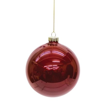Ruby Bell - Set of 6 Shiny Ruby Red Glass Christmas Ball Ornaments 5