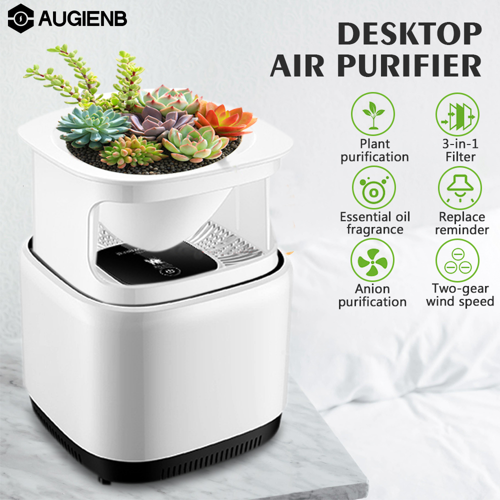 DIY Air Purifier,AUGIENB Desktop Odor Dust PM2.5 Cleaner Ionic Air Purifier with DIY Plant Potted