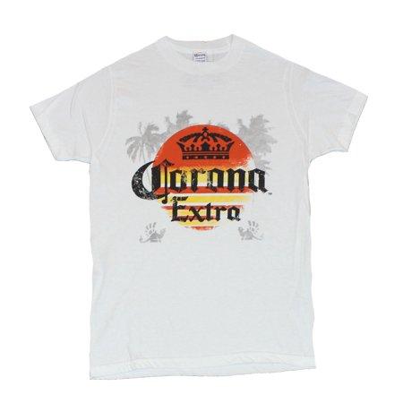 Corona Extra Mens T-Shirt -  Orange Yellow Logo Over Palm Tree Image (Party City In Corona)