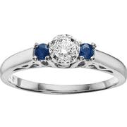 1/3 Gemstone T.W. Diamond and Sapphire 10kt White Gold Ring