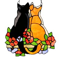 River of Goods Stained Glass Cats in the Garden Window Panel