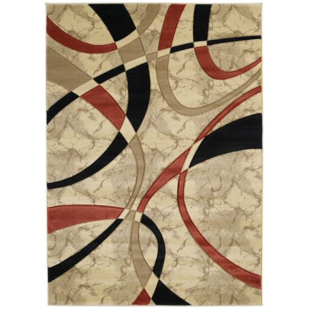 - Designer Home Angles Area Rugs - 510-21390 Solid & Striped Cream Swirls Wavy Lines Stripes Rug