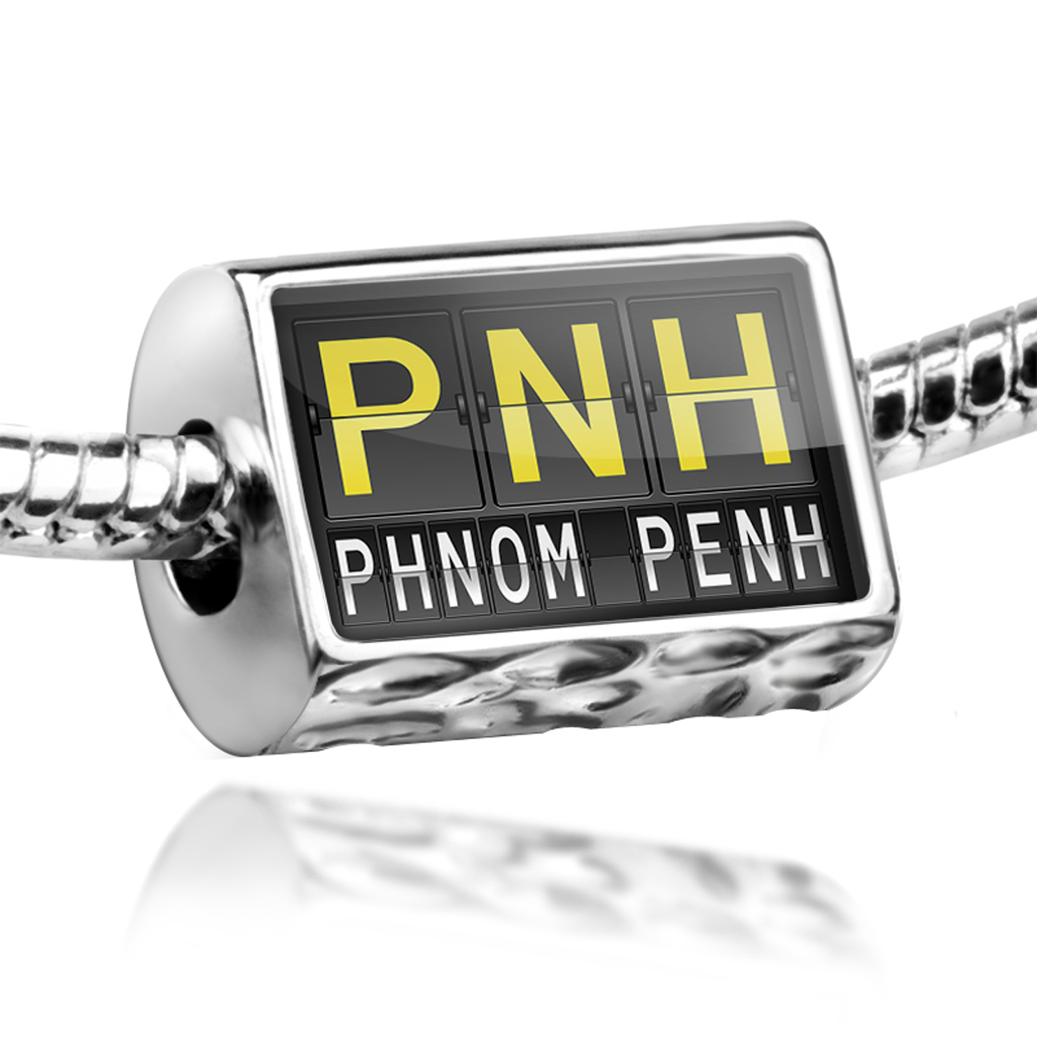 Bead PNH Airport Code for Phnom Penh Charm Fits All European Bracelets