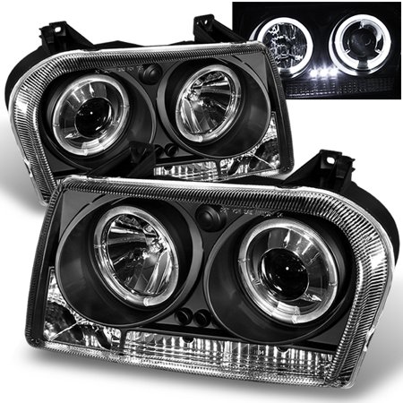- Fits Black 05-07 Chrysler 300 Halo Projector LED Headlights Lamp Pair Left+Right