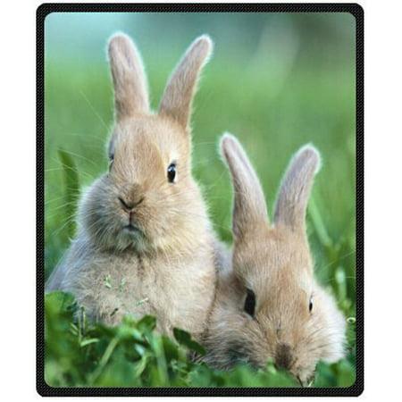 CADecor A pair of cute fluffy bunny Rabbits soft Fleece Throw Blanket 58x80