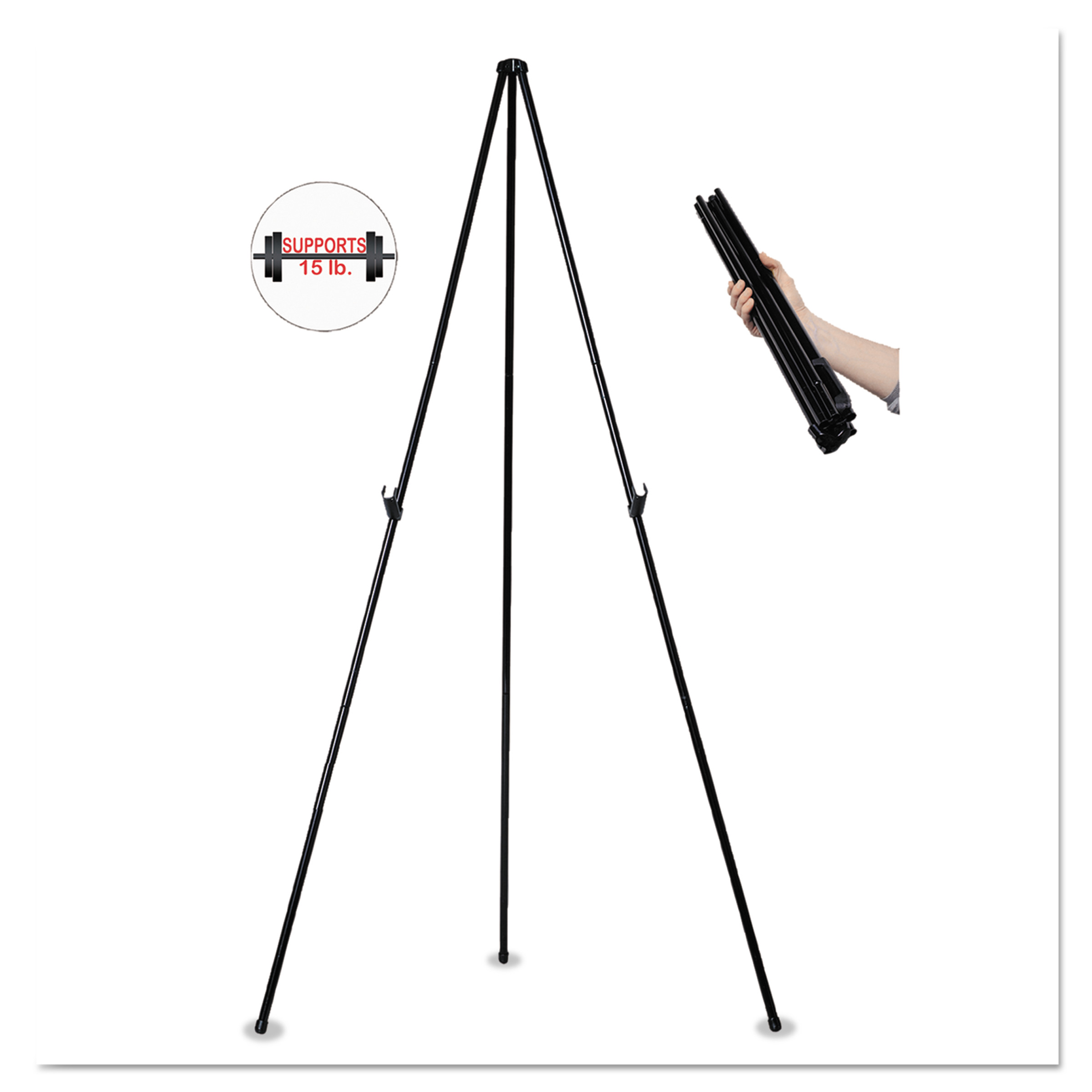 "MasterVision Instant Easel, 61 1/2"", Black, Steel, Heavy-Duty"