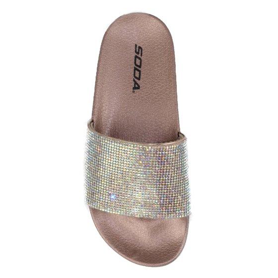 472762b40df090 Soda - Sylvia Soda Footbed Shoes Bling Rhinestone Crystal Slides ...