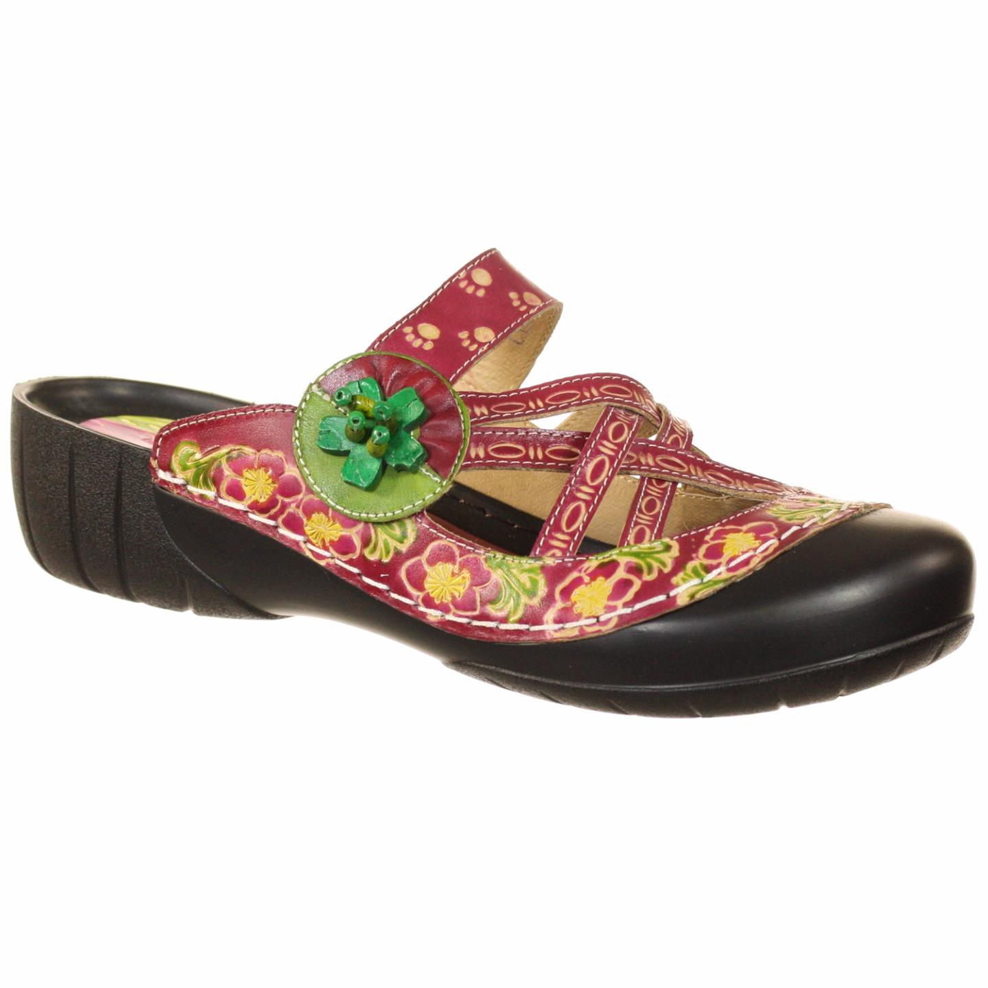 L'Artiste By Spring Step Christina Women's Clogs Bordeaux Multi EU 37 US 7 by Spring Step