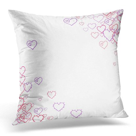 ECCOT Pink Hearts Confetti Scattered Little Red Purple Lilac Love Symbols Random Falling Sketch Shape on White Pillowcase Pillow Cover Cushion Case 16x16 inch (Red Purple Hearts)