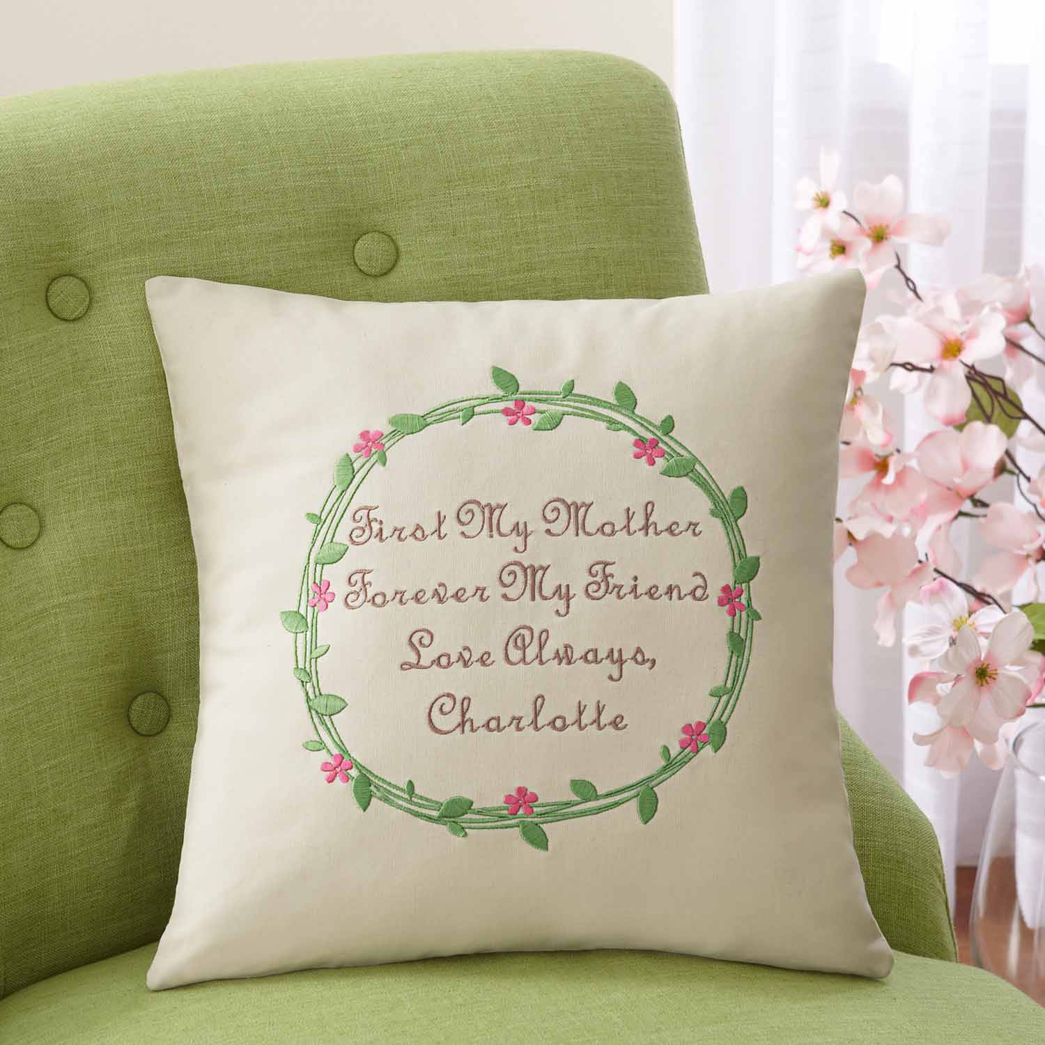 Personalized First & Forever Embroidered Pillow