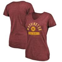 Washington Football Team Fanatics Branded Women's Head to the Field Tri-Blend V-Neck T-Shirt - Burgundy