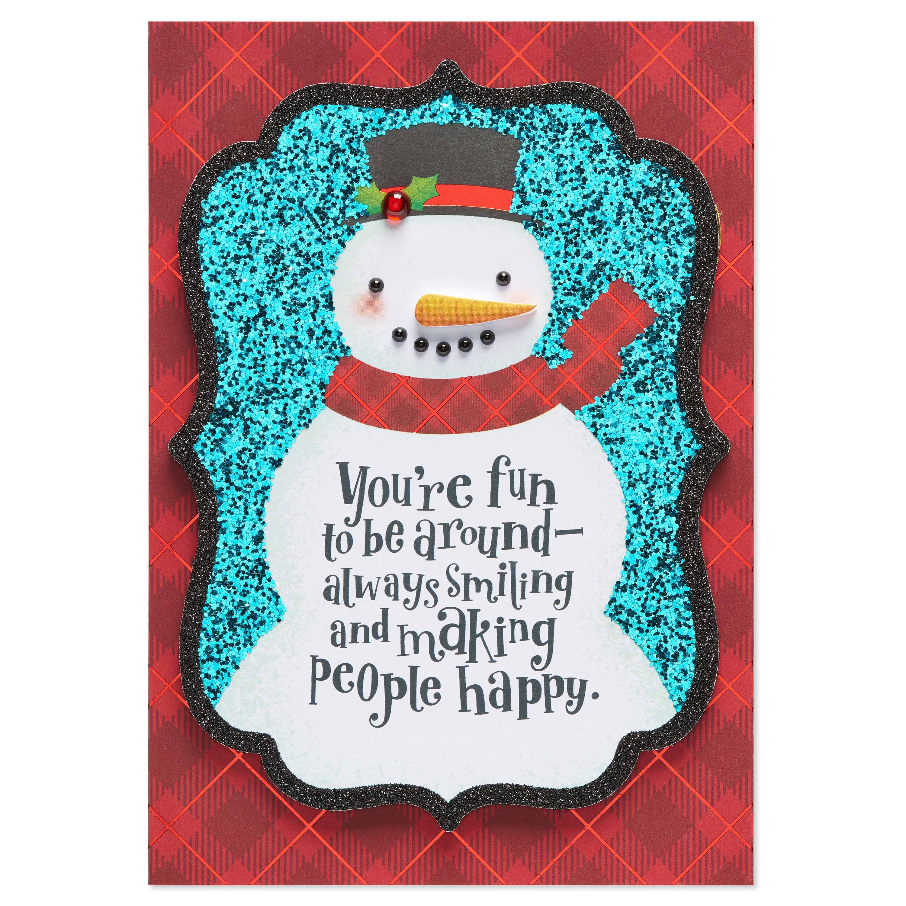 AMERICAN GREETINGS® Lily Pad Press Snowman Holiday Card with Glitter
