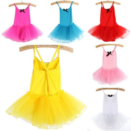 2-7Y Kids Girls Nice Party Ballet Costume Tutu Dance Skate Dress Leotard Skirts