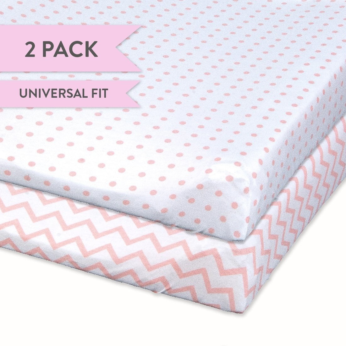 Changing Pad Cover Set   Cradle SHeet Set 100% Cotton Jersey Knit 2 Pack Pink Chevron and Polka Dots by Ely%27s %26 Co.