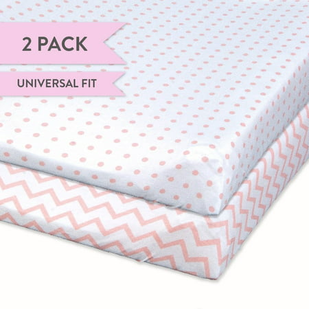 Changing Pad Cover Set   Cradle Sheet Set 100% Cotton Jersey Knit 2 Pack Pink Chevron and Polka Dots