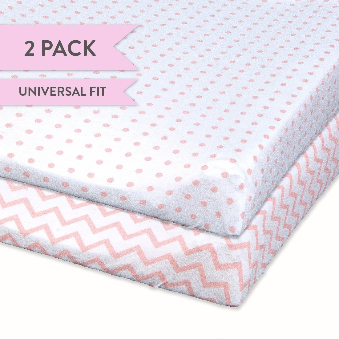 Changing Pad Cover Set | Cradle Sheet Set 100% Cotton Jersey Knit 2 Pack Pink Chevron and Polka Dots
