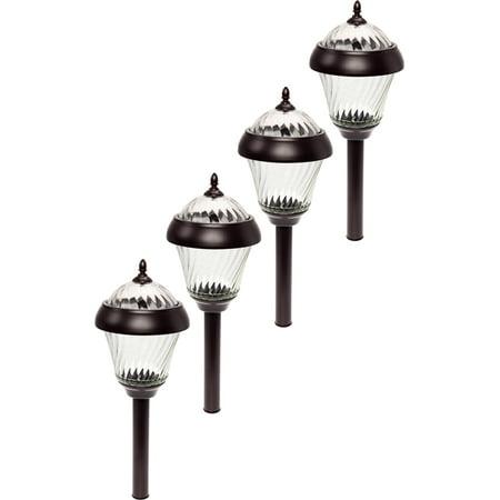 4 Pack GreenLighting Remington Bronze High Lumen Garden Solar Path Stake Lights ()