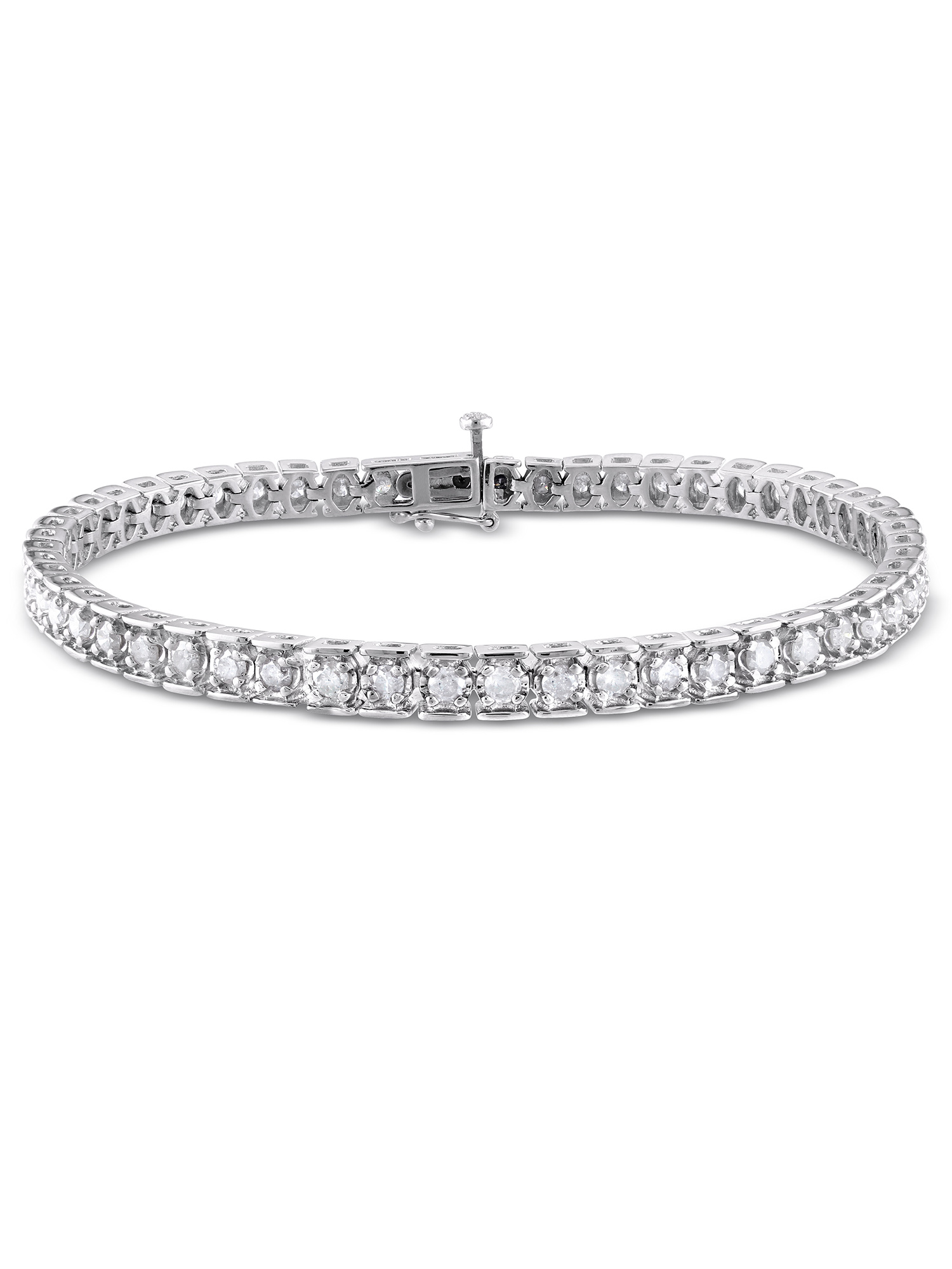 "Miabella 3 Carat T.W. Diamond Sterling Silver Tennis Bracelet, 7.25"" by Miabella"