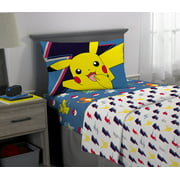 Pokemon Kids Super Soft Microfiber Bedding Sheet Set, Blue and White
