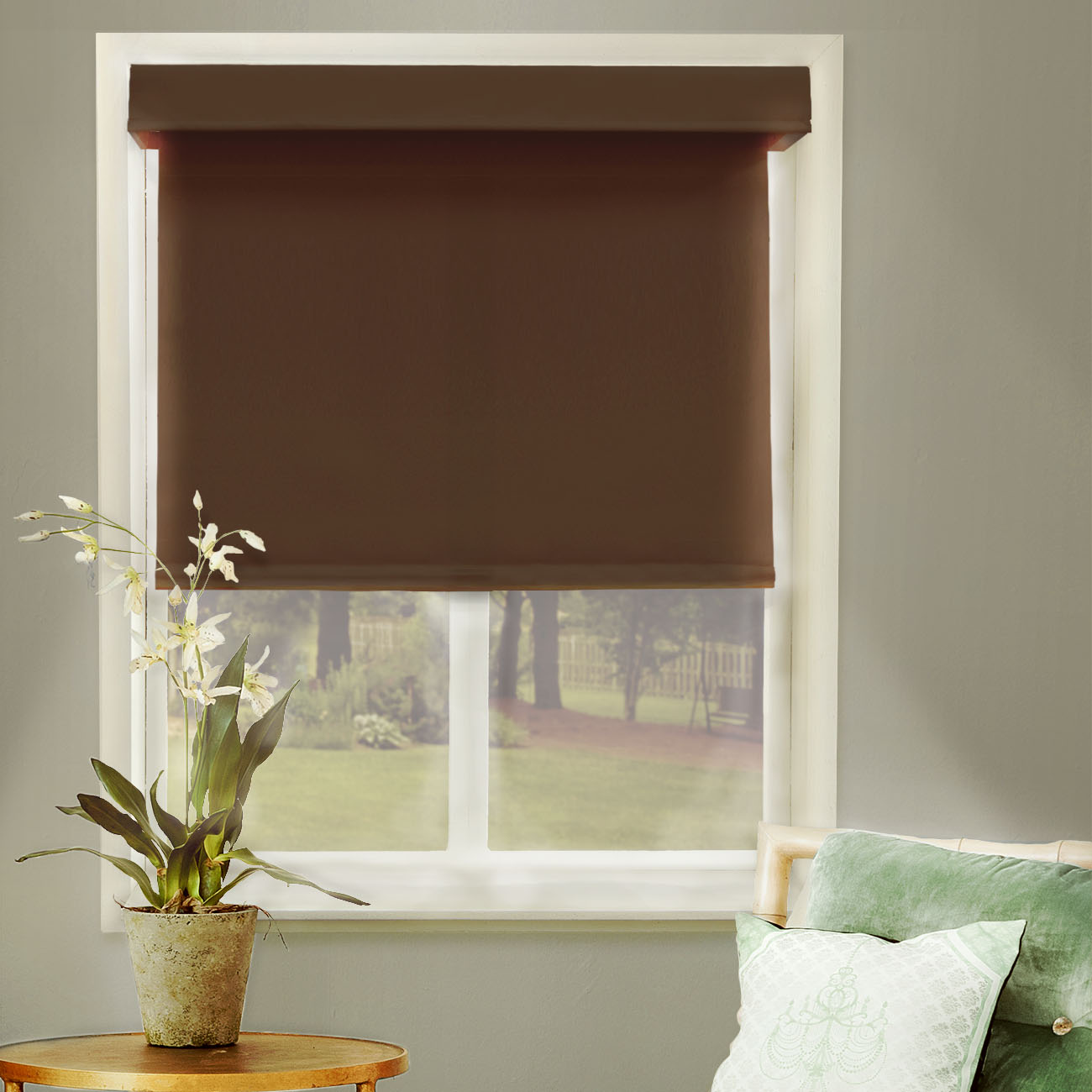 "Chicology Free-Stop Cordless Roller Shades, No Tug Room Darkening Window Blind, Mountain Chocolate (Thermal & Room Darkening) - 23""W X 72""H"