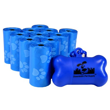 Dog Pet Waste Poop Bags, Variety Colors, Bulk Sizes, (Color: Blue with Paw Prints) (Size 220 Bags) + FREE Bone Dispenser, by Downtown Pet
