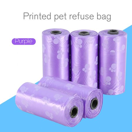 4 Colors Optional 5 Rolls Portable Printed Pet Puppy Dog Cat Waste Clean Poop Pick Up Garbage Bags,Garbage Bags, Waste Clean Poop Pick (Best Way To Pick Up A Dog)