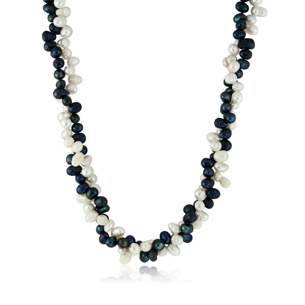 """Black White Double Twist Cultured Freshwater Pearl Necklace 18"""" Pearls:8MM"""