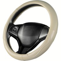 Auto Drive Tan with White Stitching Universal Fit Steering Wheel Cover
