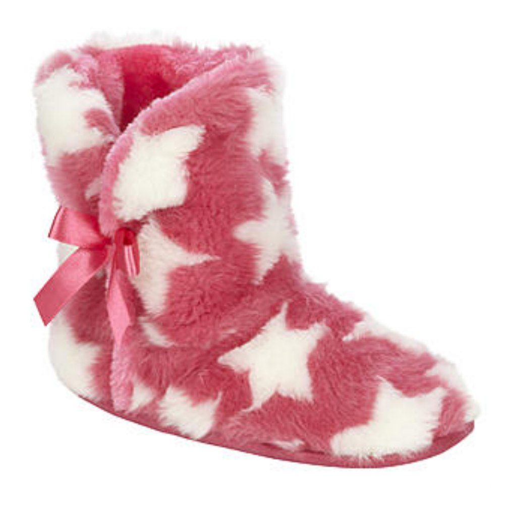 Bongo Girls Pink Star Boot Slippers Plush Faux Fur Booties House Shoes