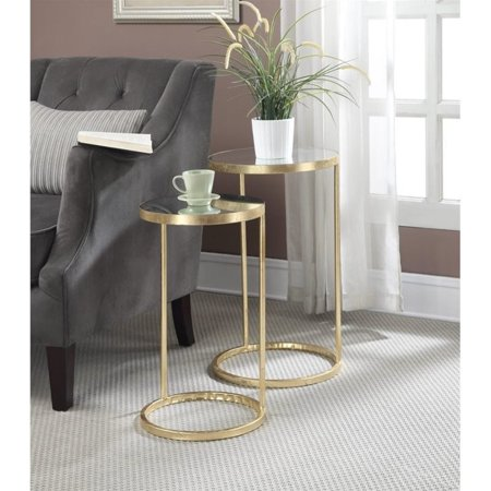 Convenience Concepts Gold Coast Nesting Mirror End Tables in Gold - image 2 de 2