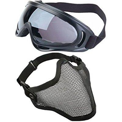toogoo(r) 2 in 1 protection steel mesh face mask with x400 uv safety goggles airsoft paintball, black by THZY