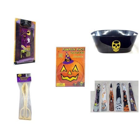 Halloween Fun Gift Bundle [5 Piece] - Happy  Door Panel - Black With Skeleton Oval Party Tub - Darice Pumpkin Face Fun Felt Kit - Witch - Skeleton Server  -  Wooden Craft Stick Figures 1 Dozen