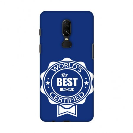 OnePlus 6 Case - World's Certified- The Best Mom- Navy blue, Hard Plastic Back Cover, Slim Profile Cute Printed Designer Snap on Case with Screen Cleaning (World's Best Geode Kit)
